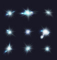 flares blue flashes light effects vector image