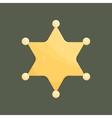 Blank golden sheriff star isolated on dark vector image