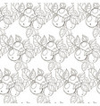 seamless black and white pattern of apples with vector image