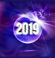 2019 happy new year disco background vector image vector image