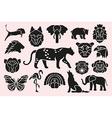 animal symbols set vector image vector image