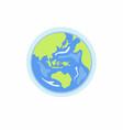 asia in earth globe flat cartoon sign