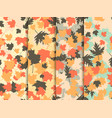 autumn leaves set of seamless patterns oak leaves vector image vector image