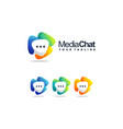 awesome media chat logo design vector image vector image