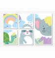bashower cards cute elephant bear turtle vector image