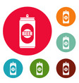 beer can icons circle set vector image vector image