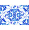 blue painted flowers on white background vector image vector image