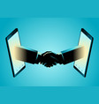 business agreement through smart phone vector image vector image