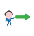 businessman character walking and holding arrow vector image