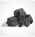 cartoon black coal stacked pile vector image