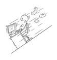cartoon of businessman sitting behind his desk vector image vector image