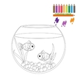 Coloring page Two fishes in the round aquarium vector image vector image