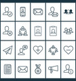 communication icons set with private info reward vector image vector image