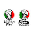 cook chef logo italian food pizza symbol or vector image vector image