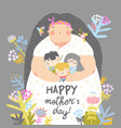 cute mother holding her children in flowers vector image vector image