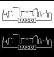 Fargo skyline colorful linear style editable