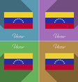 Flags Venezuela Set of colors flat design and long vector image vector image