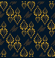 geometric yellow pattern with ornament leaves vector image vector image
