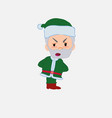 green santa claus is slightly angry vector image vector image