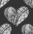 Hand Drawn Black and White Love Heart Pattern vector image