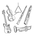 Hand-drawn instruments vector image vector image