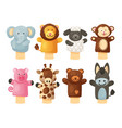 hands puppets play doll cute and funny animals vector image