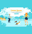 happy people training dogs in city park dog zone vector image