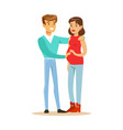 happy young pregnant couple colorful characters vector image vector image