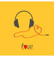 Headphones and red cord in shape of heart Black vector image vector image