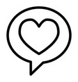 heart in speech bubble line icon love message vector image vector image