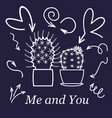 hearts and cactus cute love or friendship cactus vector image vector image