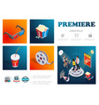 isometric cinema infographic concept vector image