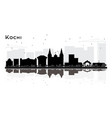 kochi india city skyline silhouette with black vector image vector image