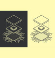 line art microchip central processor unit concept vector image vector image
