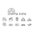 line cinema icons set on white background vector image vector image