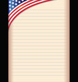 lined sheet old copybook with the american flag vector image