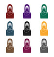 niqab icon in black style isolated on white vector image