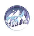 paper cut hiker couple silhouettes winter vector image vector image