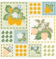 Patchwork background with strawberries and vector image vector image