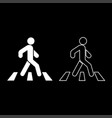 pedestrian on zebra crossing icon set white color vector image