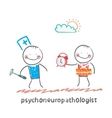 psychoneuropathologist stands next to a man with a vector image vector image