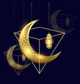 ramadan kareem moon and lantern background vector image vector image