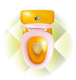 realistic open golden toilet bowl with modern vector image vector image