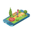 running woman mobile app for running vector image vector image