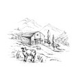 rural landscape with cows and farm mountai vector image