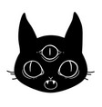scary face a magic cat with three eyes vector image vector image