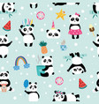 seamless panda bear pattern on light blue vector image