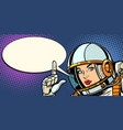 serious astronaut woman pointing up vector image vector image