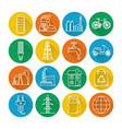 set energy and ecology line icons with long vector image vector image
