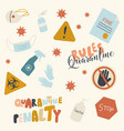 set quarantine icons fine or penalty paper vector image